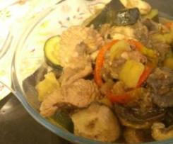 Estufado de legumes com perú