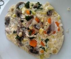 Omolete com Cogumelos, Courgette e Cenoura