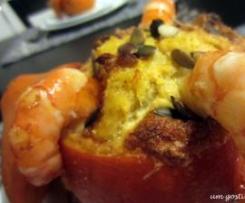 Souflé de bacalhau com camarão na abóbora