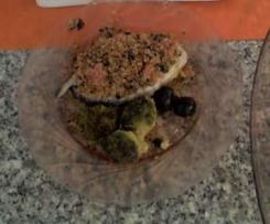 Postas de salmão com crocante