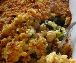 Bacalhau com esmagada de grão e grelos