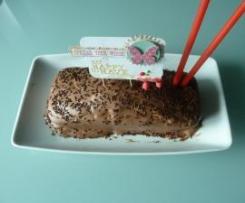Bolo de Iogurte grego com cobertura de chocolate negro