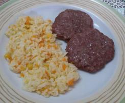 Hambúrguer na varoma e arroz no cesto