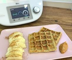Waffles de banana e coco