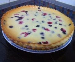 Cheesecake de framboesas e mirtilos (no forno)