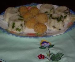 Almôndegas de bacalhau com arroz de legumes