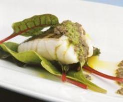 Lombo de pescada com molho verde