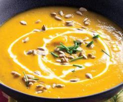 Creme de cenoura com courgette e batata-doce