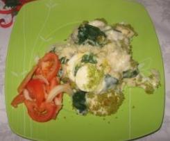 Bacalhau com espinafres gratinado