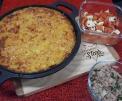 Tortilha (no forno) com mozzarela e mortadela de peru