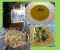 Sopa de legumes, arroz basmati e lombos de pescada com molho de caril