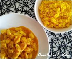 Potas tikki masala com arroz de açafrão