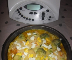 Gratinado de Pescada e Legumes em Molho de Tomate e Béchamel