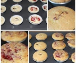 Cupcakes com nutella e doce de morango