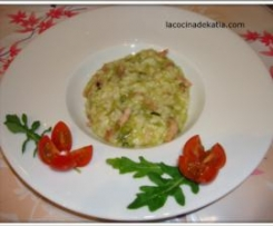 Risotto de verduras e bacon