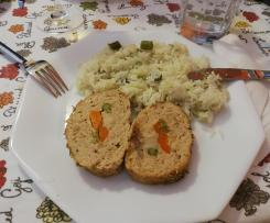 Rolo de carne recheado com legumes