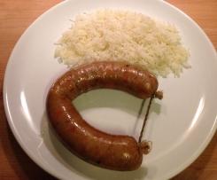Alheiras vegetarianas a vapor com arroz branco
