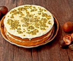 Bolo de Maracujá  com creme de queijo Mascarpone