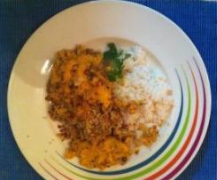 Frango com bechamel de cenoura e crosta de broa c/arroz de limão