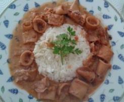 Lulas com arroz a vapor
