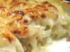 Bacalhau com natas e miolo de camarão