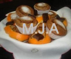 Queques de laranja com chocolate
