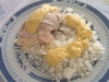 2 em 1: Bifes perú mistos na varoma com molho de legumes + arroz branco