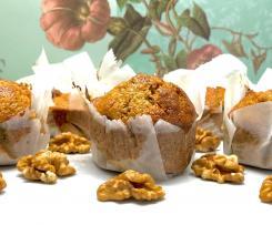 Muffins integrais de abóbora, noz e côco