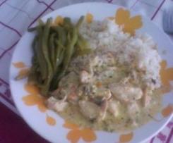 Bifinhos na bimby com arroz de legumes e feijão verde a vapor