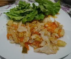 Bacalhau com broa e cenoura