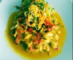 Spaghetti de Curgete e cenoura com bacalhau e açafrão