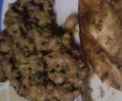 Migas de couve com broa, feijão frade e bacon