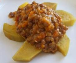 Lentilhas picantes com batata doce
