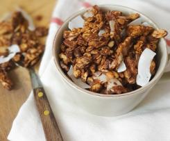 Granola de frutos secos com chocolate e côco