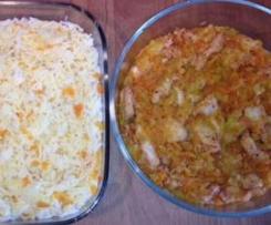 Tiras de frango aromático com arroz de cenoura (2 em 1)