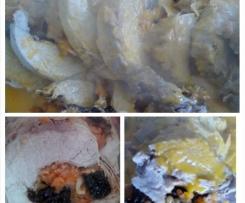 Lombo de porco recheado com farinheira, ameixas e nozes na varoma