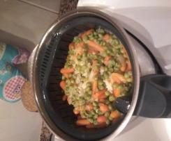 Arroz de cenoura com ervilhas
