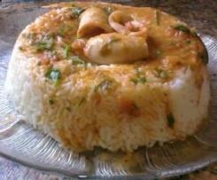 Caril de Lulas com arroz a vapor