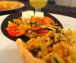 Quiche de Alheira com Juliana de Legumes Salteados, coberto com Crosta de Broa (alho e salsa)