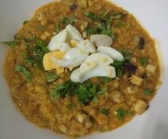 Dhal de lentilhas com beringela