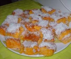 Quadrados de cenoura com côco