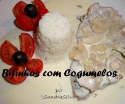 Bifinhos com Cogumelos e Arroz de Manteiga