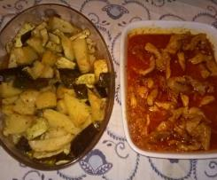 Cebolada de porco com batatas e curgetes assadas
