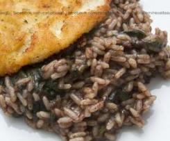 Bife de frango com arroz de morcela