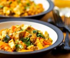 Estufadinho de lentilhas com legumes e tofu