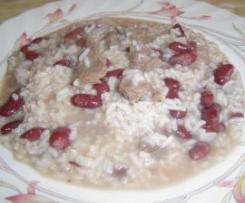 Carne guisada com arroz e feijão encarnado (á minha maneira)