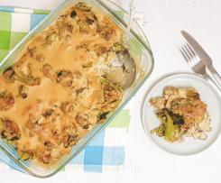 Caçarola de frango com cogumelos e bróculos, com molho de caju e côco