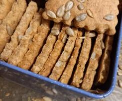 Bolachas com sementes de girassol - aproveitar sobras de refrescamento da massa-mãe