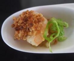 Camarões com crosta de caju e manjericão