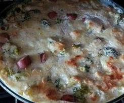 gratinado de broculos e salsichas